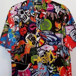 BOLD GRAPHICS Button-down shirt Sz 2XL Bluez